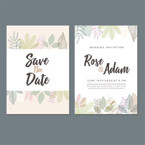 Wedding invitation card template with leaf & floral