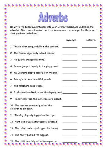 adverbs task sheet teaching resources