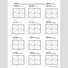 Lattice Multiplication 2 Digit By 2 Digit  10 Pages By Teacher Vault