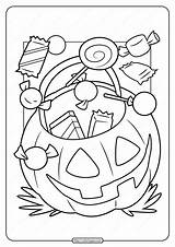 Candy Coloring Halloween Printable Pdf sketch template