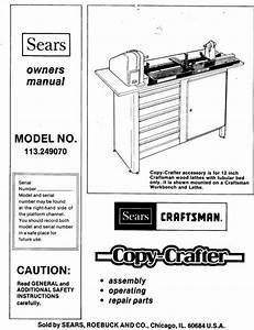 Sears Craftsman Lathe Copy Crafter Manual 113 249070