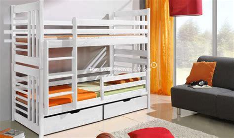 vente lit en bois massif superpose 2 places roland couleur blanc avec rangements