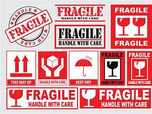 Packaging or fragile stickers handle with care this side ...