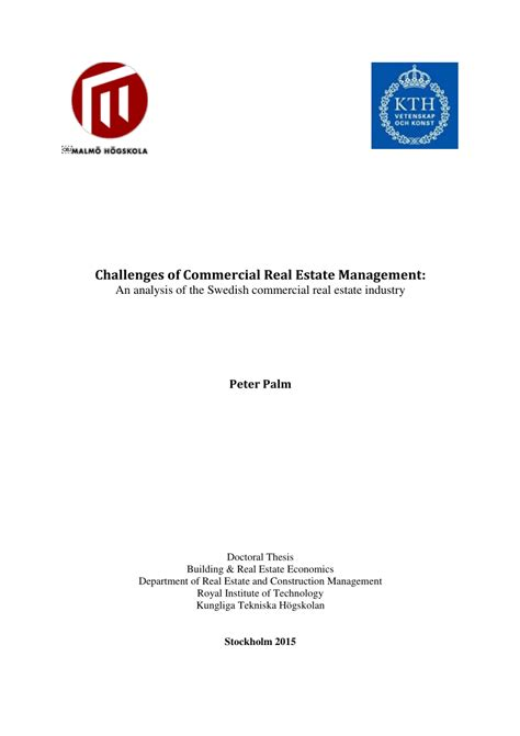 (PDF) Challenges of Commercial Real Estate Management: An