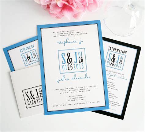 Blue Modern Wedding Invitations with Unique Logo Wedding