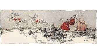 Vintage Santa Sleigh and Reindeer Clip Art