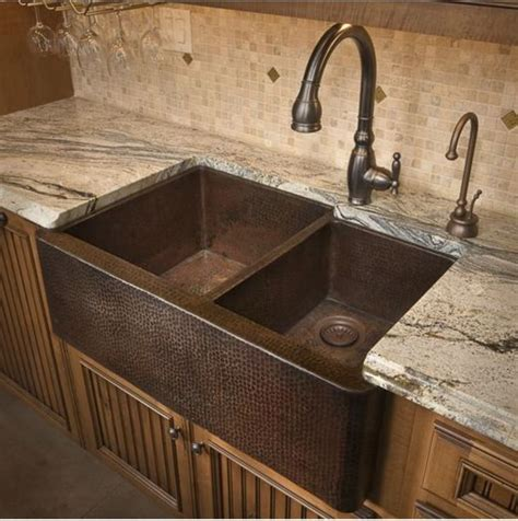 hammered copper kitchen sinks duet farm sink decora 231 227 o casa cozinha 4119