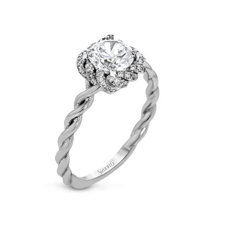 Simon G  Classic Romance Collection Platinum Twist Halo. Hexagon Wedding Rings. Brushed Rings. Low Profile Engagement Rings. Reproduction Engagement Rings. Intricate Wedding Rings. Coloured Gemstone Engagement Rings. Birth Stone Wedding Rings. Quote Rings