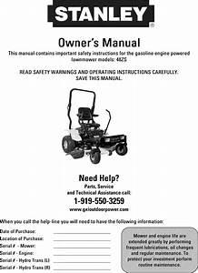 Stanley 48zs User Manual Zero Turn Riding Mower Manuals
