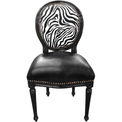 chaise baroque blanche louis xvi style chair zebra and black false skin with