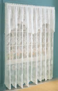 anna lace panel w attached valance eggshell