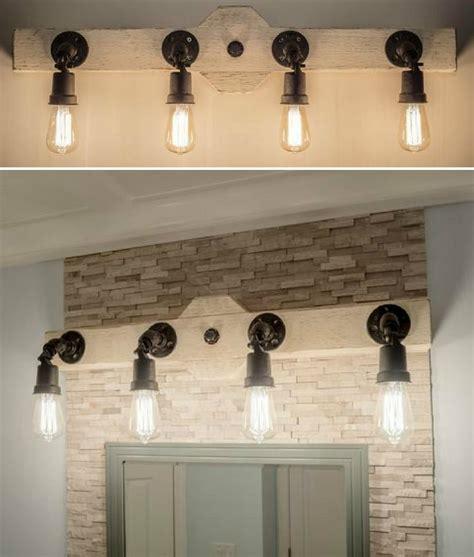 rustic industrial style bathroom vanity light wood beam
