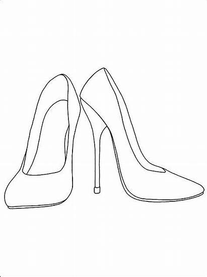 Coloring Heels Pages Drawing Shoe Printable Sketches