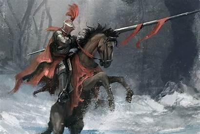 Knight Fantasy Horse Warrior Armor Mounted Winter