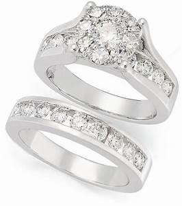 prestige unity diamond bridal set 14k white gold diamond With 2 set wedding rings