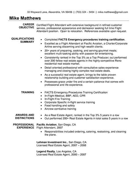 Food Attendant Resume Objectives by Cool Corporate Flight Attendant Resume Best Template