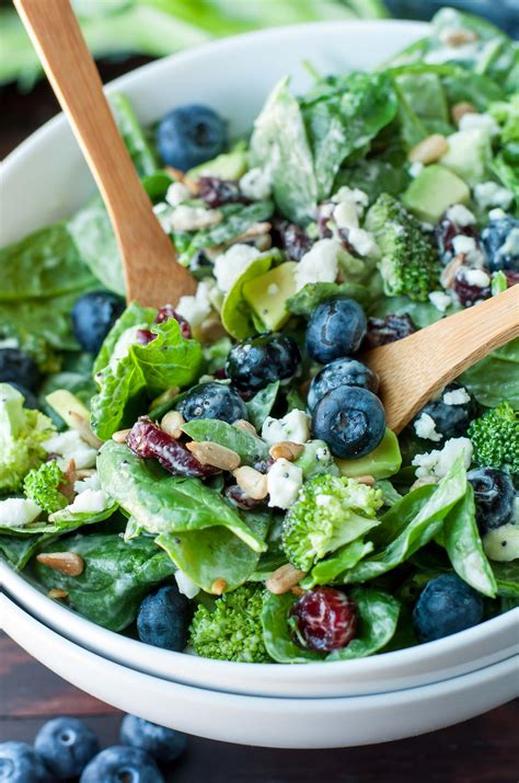 blueberry broccoli spinach salad  poppyseed ranch