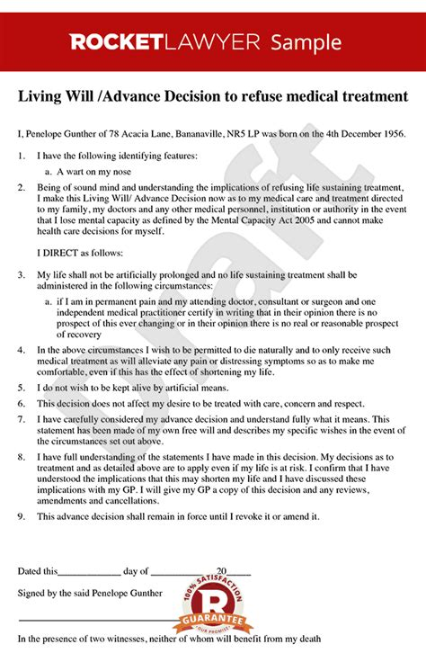 Living Will  Advance Decision Template  Living Will Sample