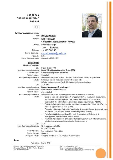 Cv Curriculum Vitae Gratuit by Cv Gratuit Belgique