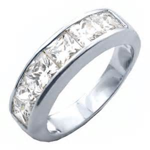 cubic zirconia princess cut engagement rings princess cut channel set wedding band ring cubic zirconia engagement promise ebay