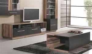 Meuble De Salon Pas Cher : combinaison meuble table basse et meuble tv black ~ Teatrodelosmanantiales.com Idées de Décoration