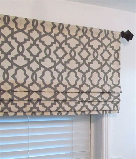 lined faux roman shade grey natural geometric trellis