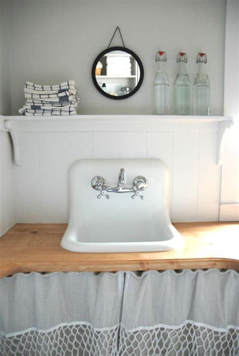 Bathroom Pedestal Sink Storage Cabinet by Small Utility Sink Laundry Room Farmhouse With Blue Island