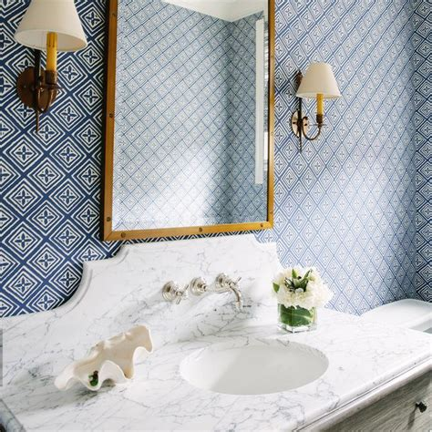 blue  gold bathroom  marble top washstand