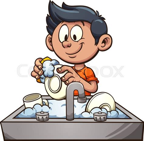 Washing Dishes Clipart Boy Washing Dishes Vector Clip Illustration With