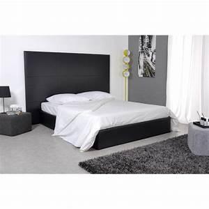 Skin lit 160x200 pu noir avec grande tete de lit achat for Chambre a coucher adulte avec matelas mousse lyon