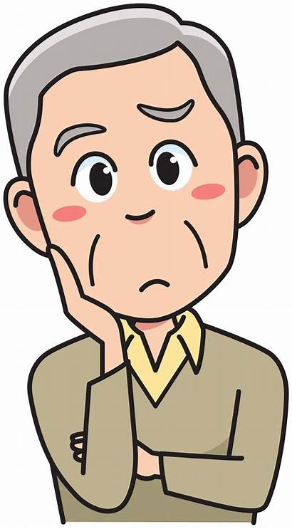 Clipart Thinking Senior Cartoon Person Clip Mensch