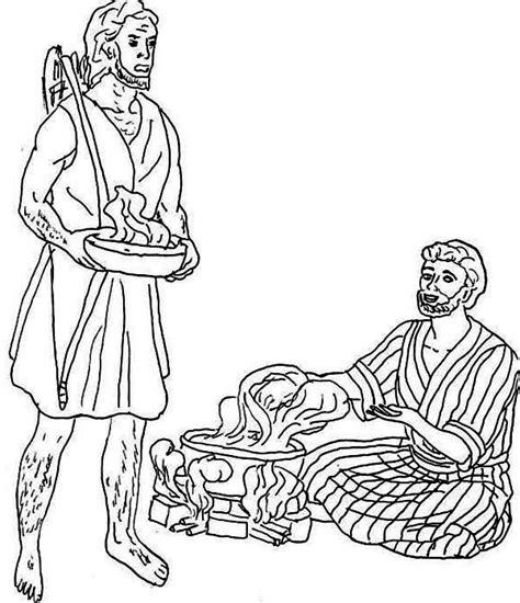Jacob En Ezau Kleurplaat by Jacob Want Esau Trade His Birth Right For A Bowl Of Stew
