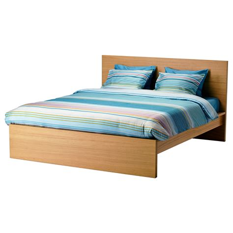 malm bed frame high oak veneer luröy standard double ikea