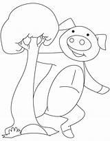 Piglet Happy Coloring sketch template
