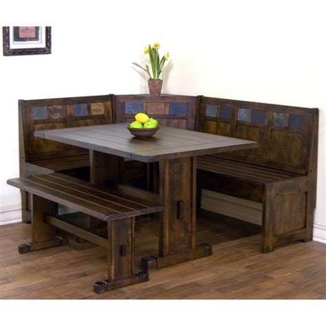 Bench Table Dining Set by Santa Fe Wood Dining Nook Set With Side Bench In Dark