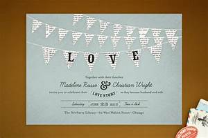 bunting banner wedding invitations With wedding invitation wording love story