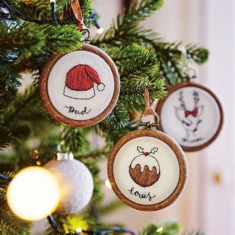 personalised embroidered christmas hoop decoration