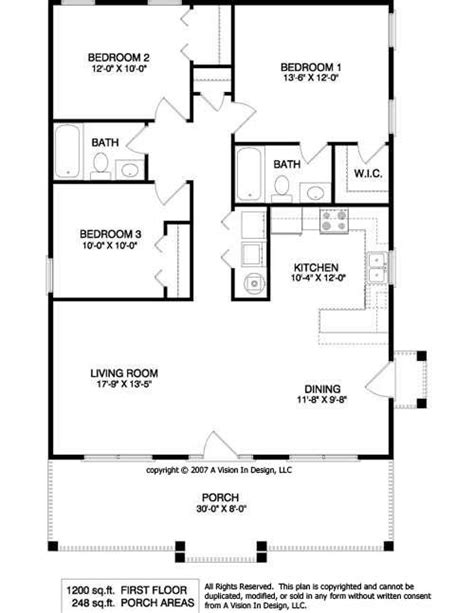 bedroom ranch floor plans small ranch house