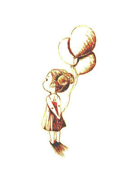 girl holding balloons tattoo pinterest ink