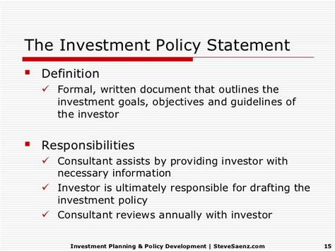 investment policy statement investment planning policy development