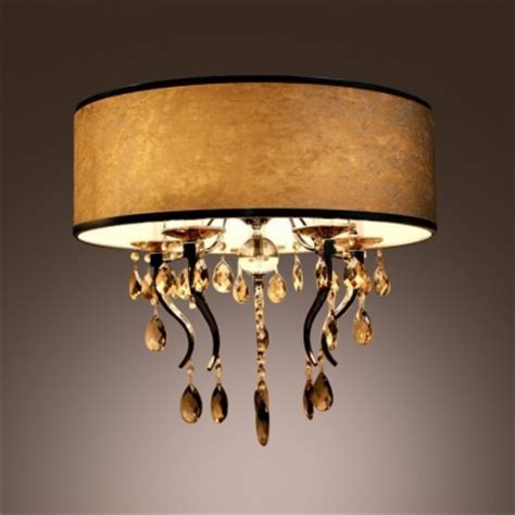 white flannel drum shade flush mount light