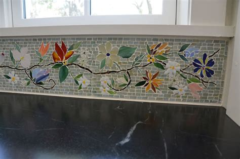 wallpaper borders for kitchen contemporary floral mosaic border for kitchen designer glass mosaics 8898