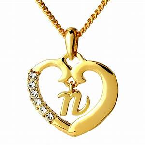 name necklace initial love heart pendant letter n 18k gold With gold letter n pendant