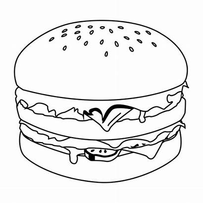 Hamburger Coloring Pages Burger Hamburgers King Fries