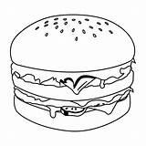 Hamburger Coloring Pages Burger Hamburgers King Print Fries Sheets Drink Patty Mac Drawing Krabby Food Template Printable Eat Da Painting sketch template