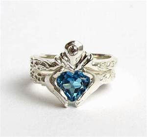 claddagh wedding set white gold and diamond blue topaz With diamond claddagh wedding ring sets