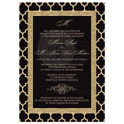 Monogrammed Wedding Invitation Black Gold Quatrefoil