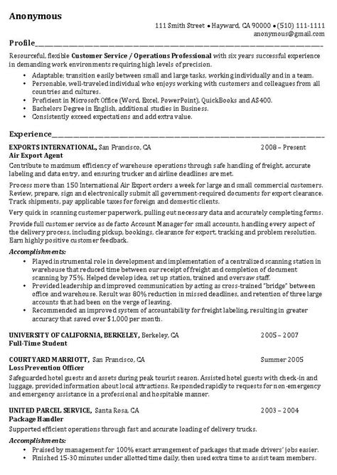 Customer Service Profile by Resume Exles This Resume Exle Begins Applicants