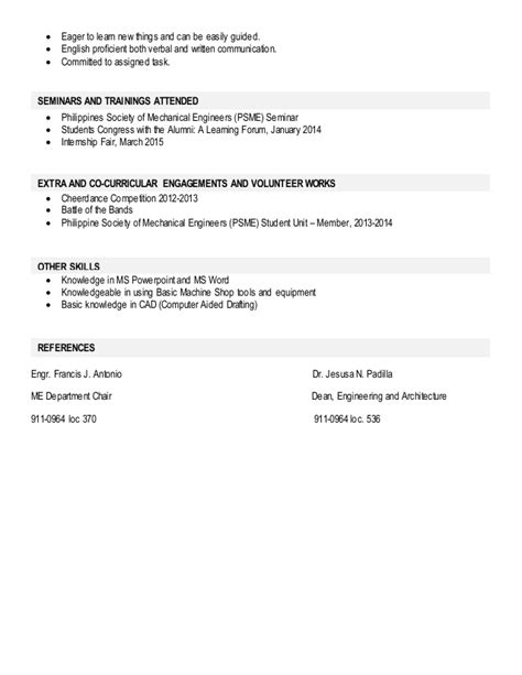 Knowledge Skills And Attitude In Resume by Ojt Resume