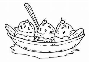 Banana Split Coloring Pages for Kids: Banana Split ...